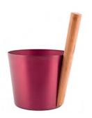 Шайка Rento алюминий с бамбуковой ручкой - Брусника
