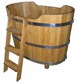 Купель дубовая 500 л (2 сиденья, слив, лестница приставная)