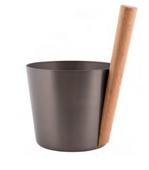 Шайка Rento алюминий с бамбуковой ручкой - Деготь