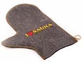 Рукавичка для сауны с вышивкой (серый войлок)