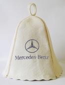 """Шапка для сауны (светло-серый войлок) """"Mersedes-Benz"""""""
