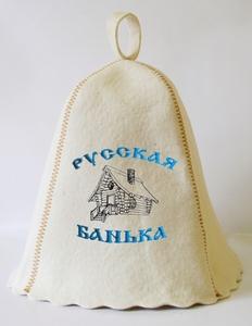 """Шапка для сауны (светло-серый войлок) """"Русская банька"""""""