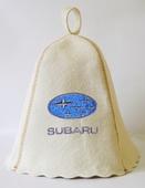 """Шапка для сауны (светло-серый войлок) """"Subaru"""""""